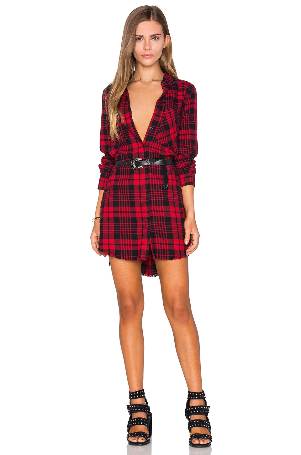 superior performance performance sportswear variety styles of 2019 Black Orchid Fray Hem Shirt Dress in Red | REVOLVE