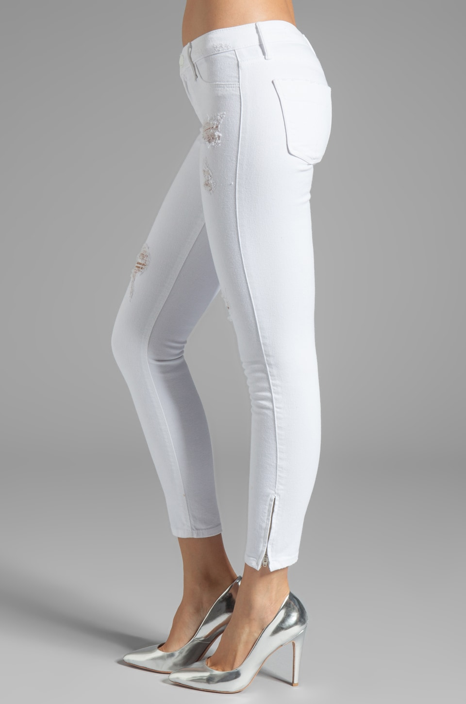 Black Orchid Skinny Ankle Zip in Pure White