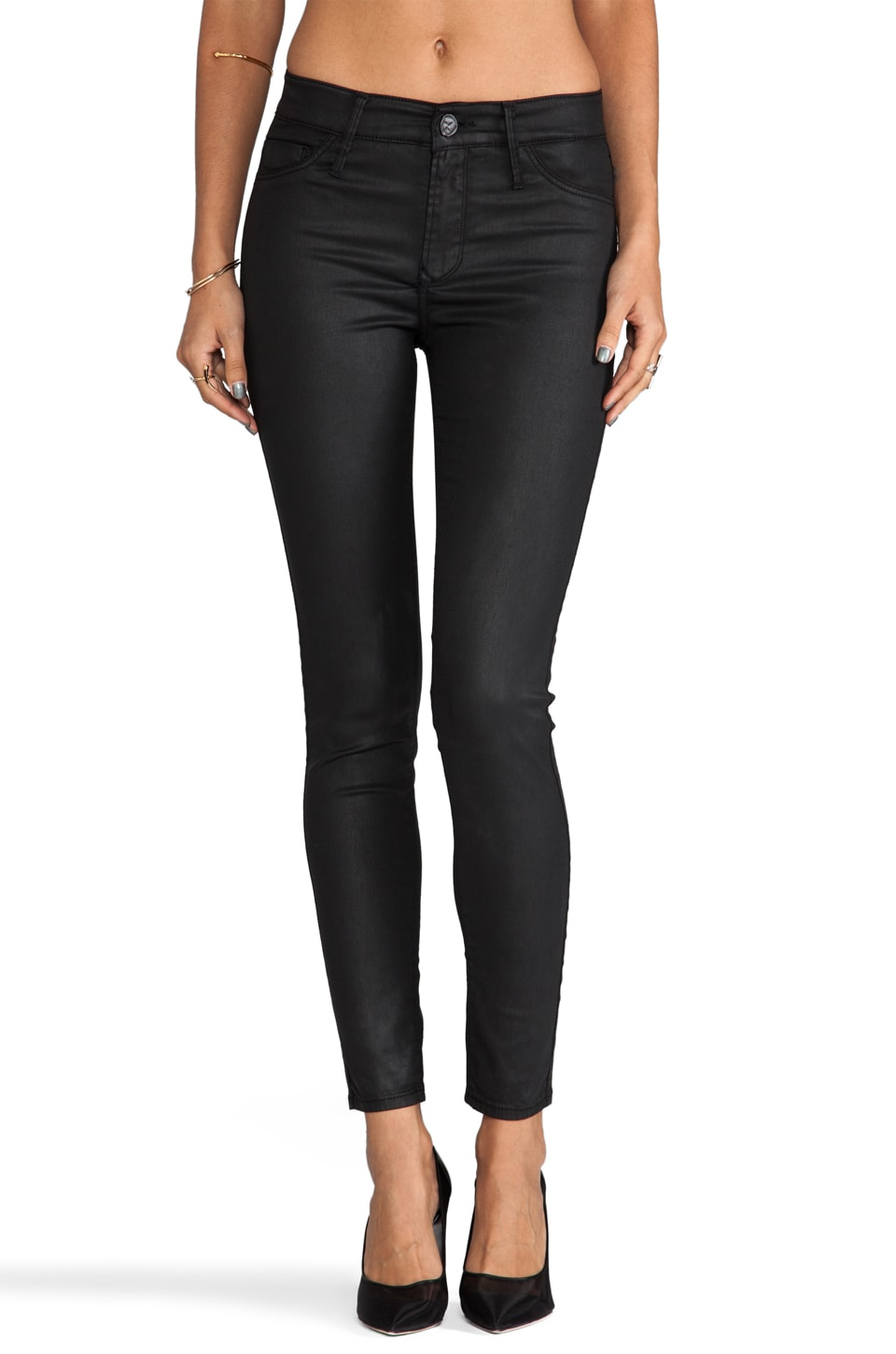 Black Orchid Coated Mid Rise Skinny in Black Night