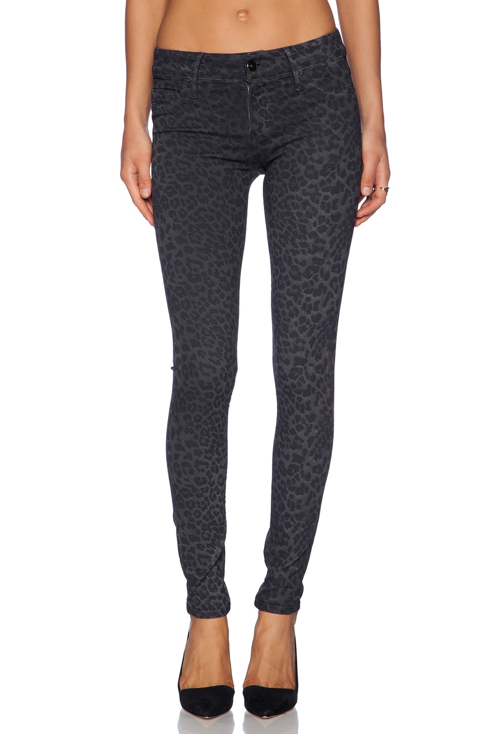 Black Orchid Coated Leopard Skinny in Cat's Meow