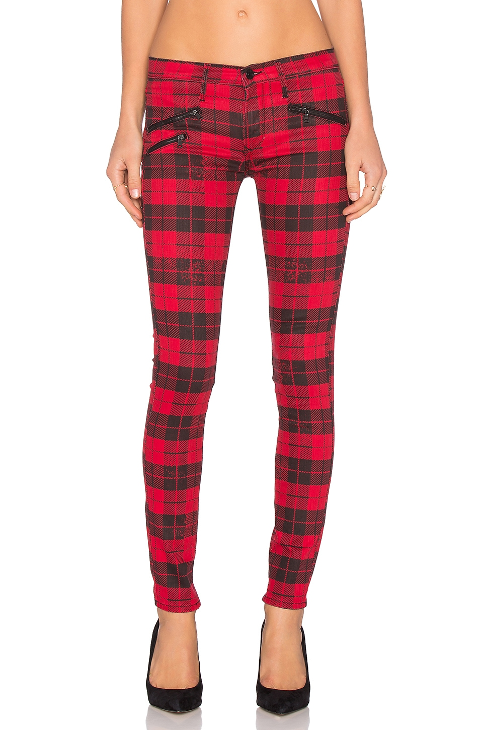Black Orchid Billie Zipper Skinny in Mad Fox Plaid