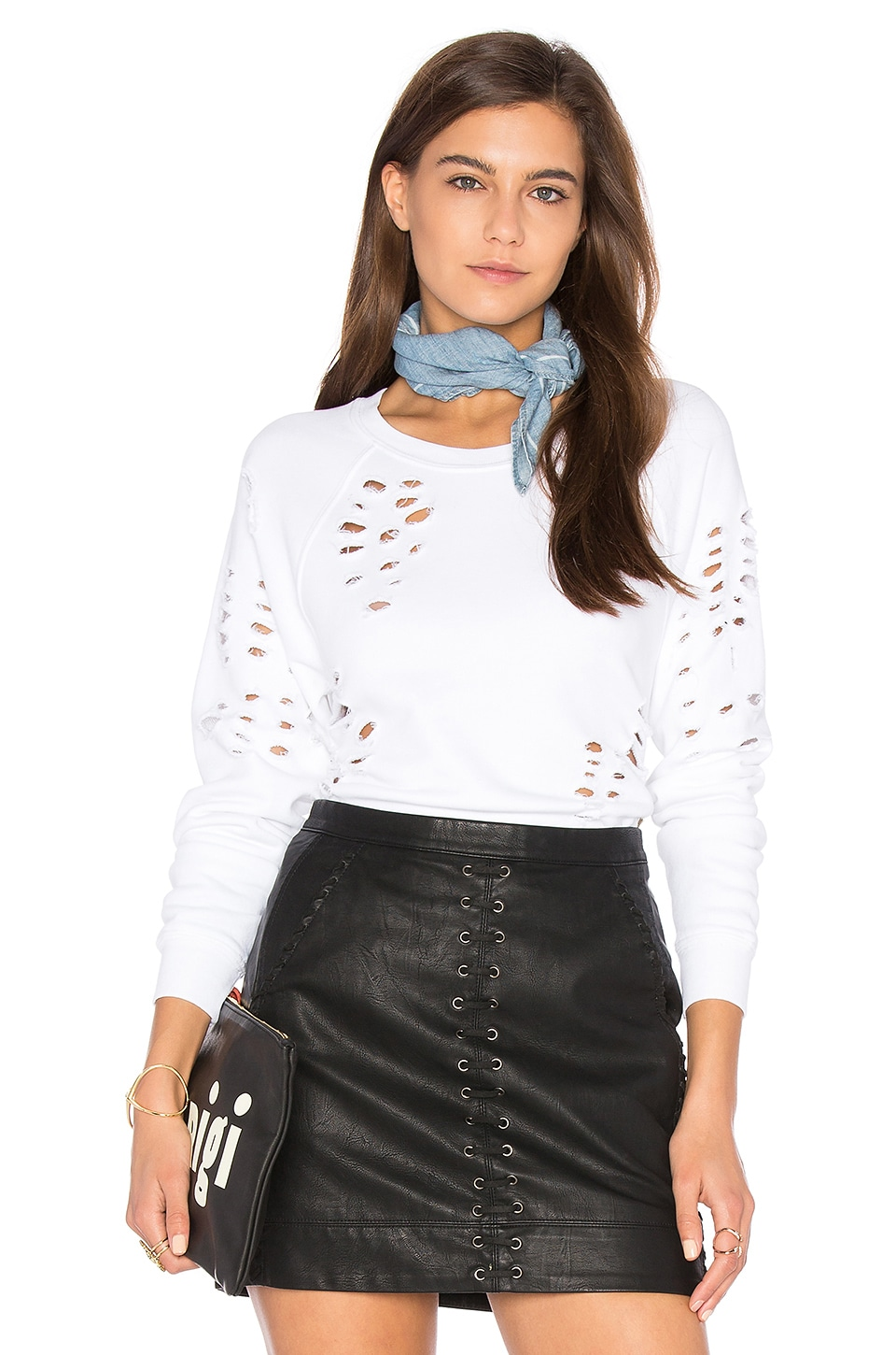 Side Zip Destroyed Sweatshirt by Black Orchid