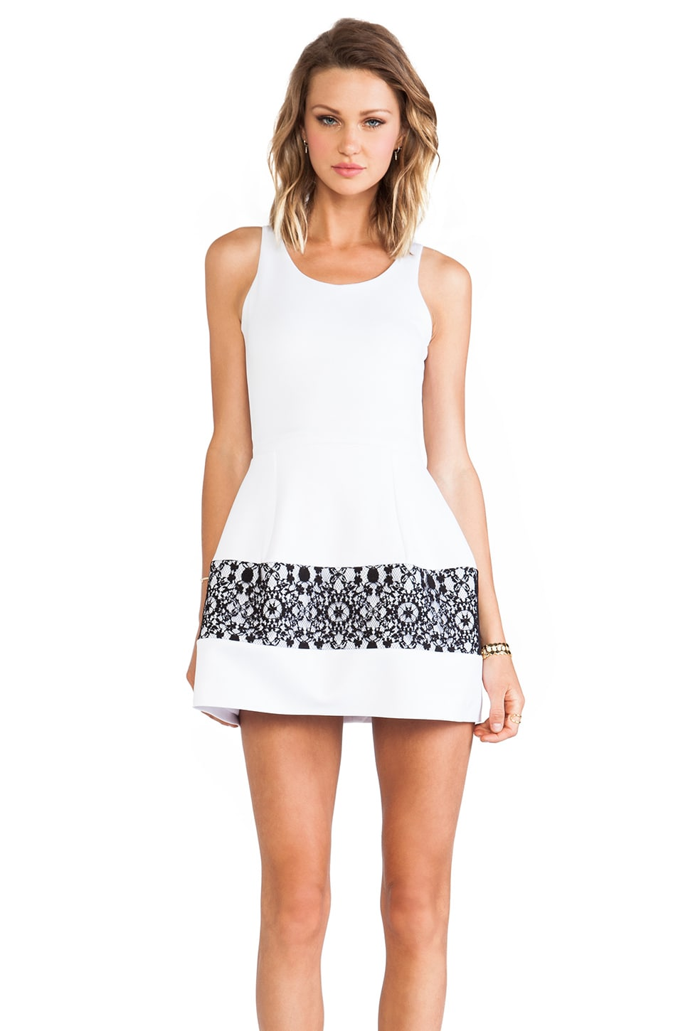 Boulee Marilyn Tank Dress in Black &Ivory Lace