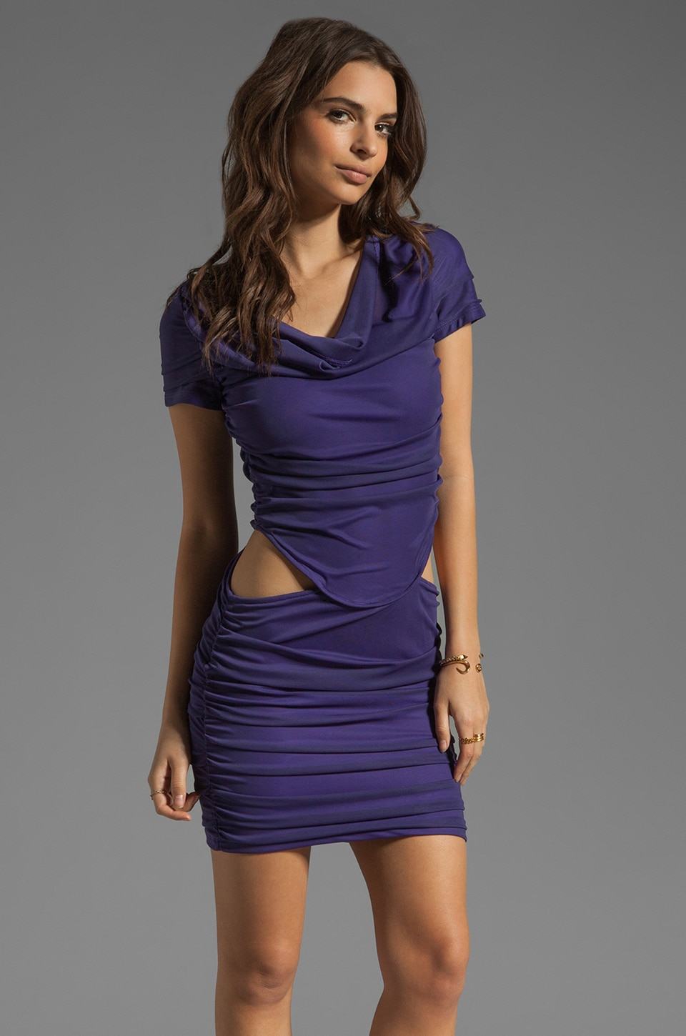 Boulee Blake Short Sleeve Cut Out Dress in Dark Purple
