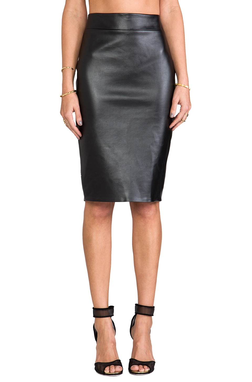 Boulee Monica Vegan Leather Skirt in Black