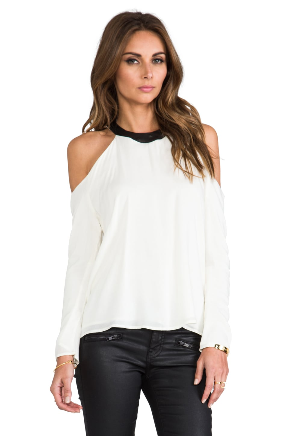 Boulee Mari Top in Ivory/Black