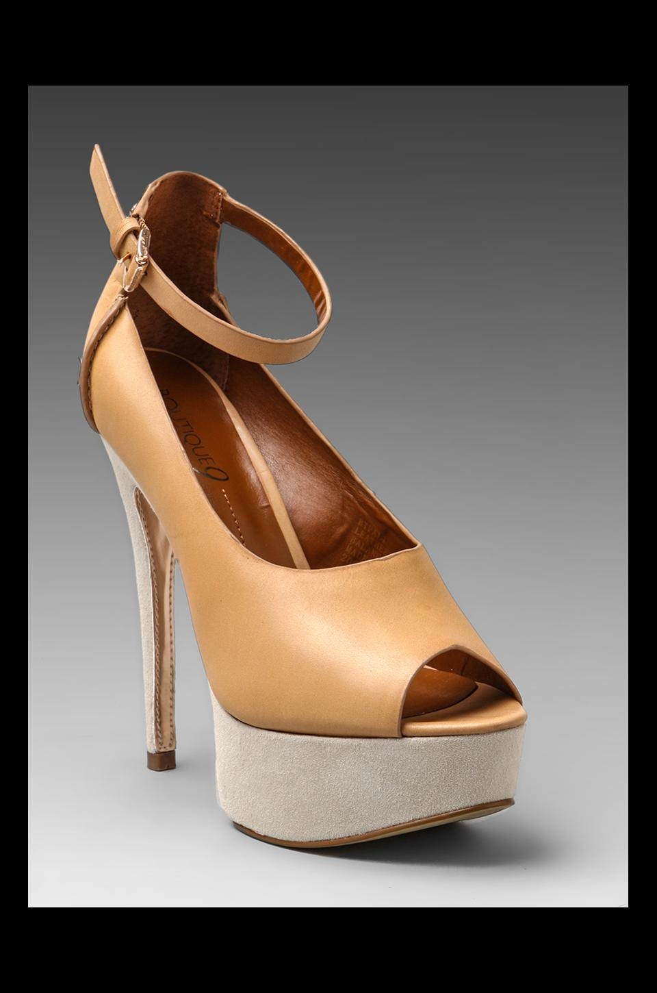 Boutique 9 Pali Peep Toe Pump in Tan/White