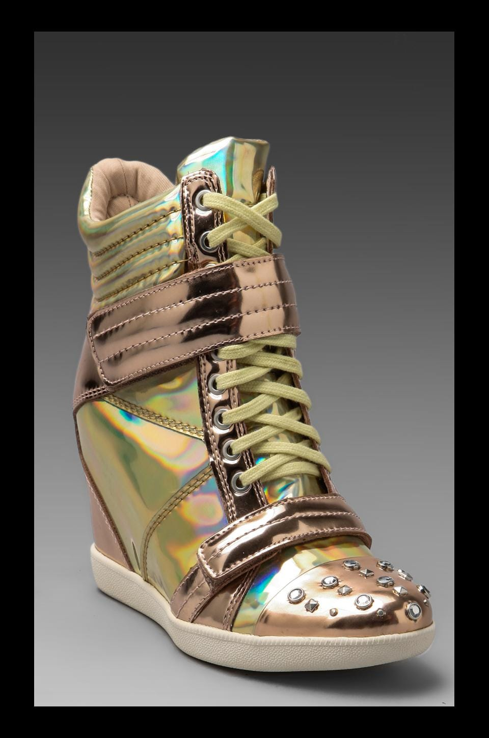 Boutique 9 Nevan Wedge Sneaker in Gold Hologram