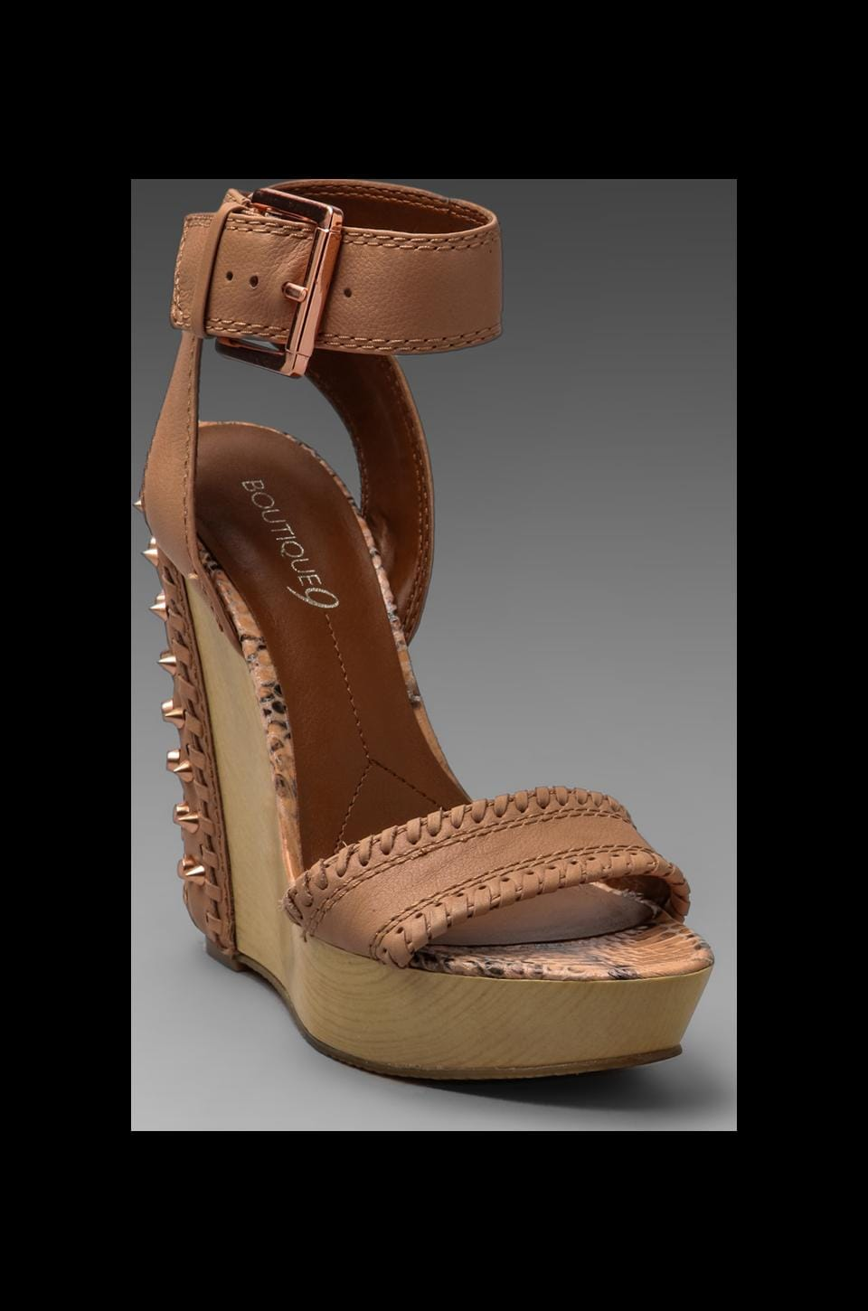 Boutique 9 Ankle Strap Wedge in Natural