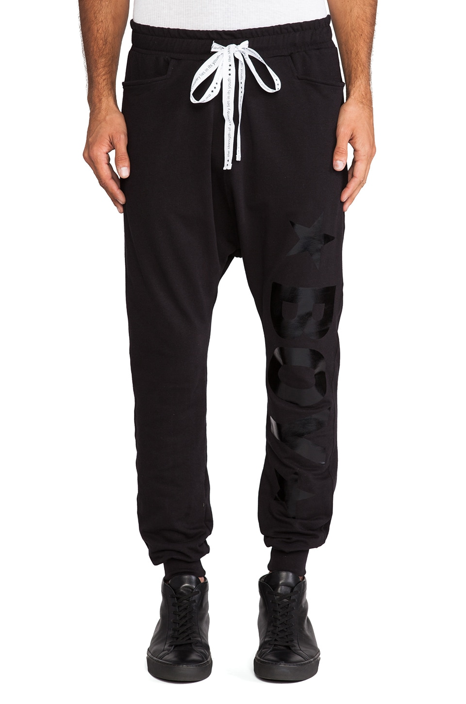 BOY London Drop Crotch Jogger in Black &  Black