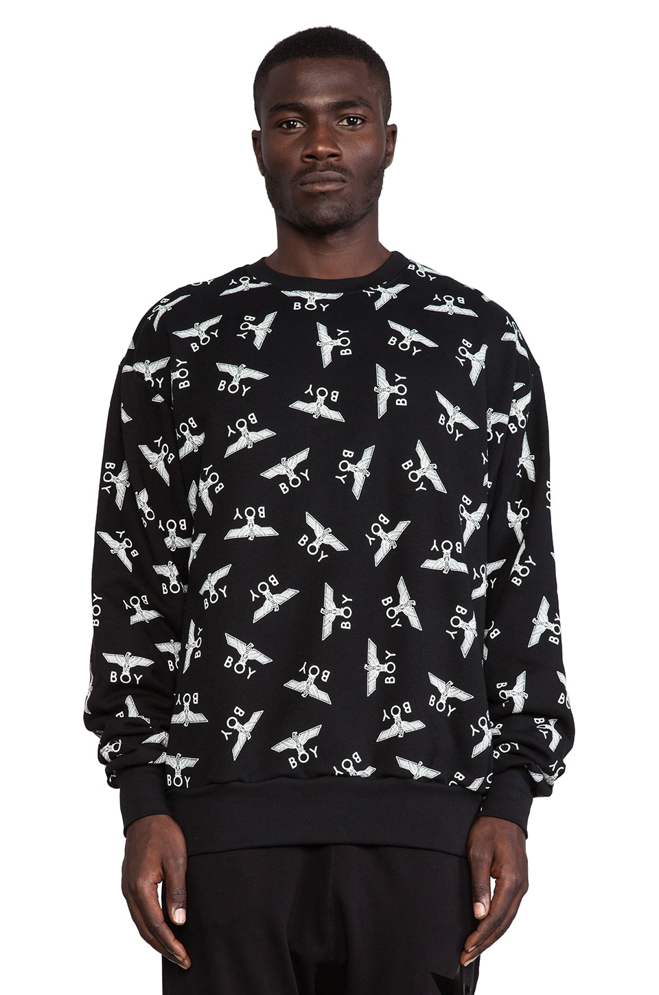 BOY London Allover Eagel Sweatshirt in Black