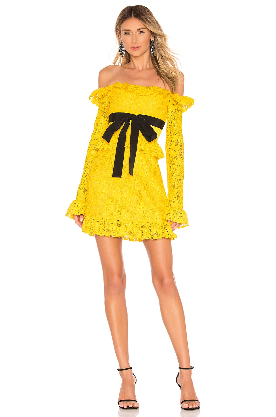 BROGNANO Lace Dress in Yellow