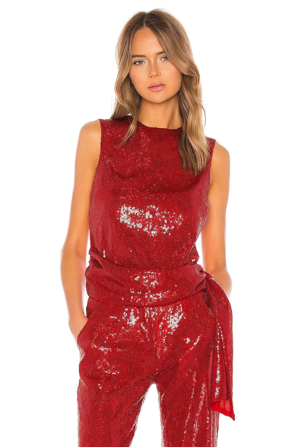 BROGNANO Sequin Blouse in Red