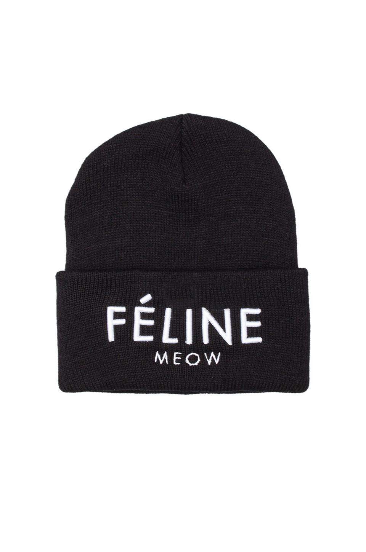 Brian Lichtenberg Feline Meow Unisex Beanie in Black/White