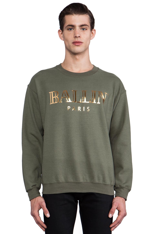 Brian Lichtenberg Ballin Sweatshirt in Military Green/Gold Foil