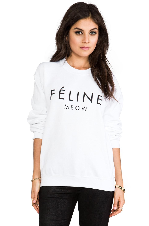 Brian Lichtenberg Feline Sweatshirt in White/Black