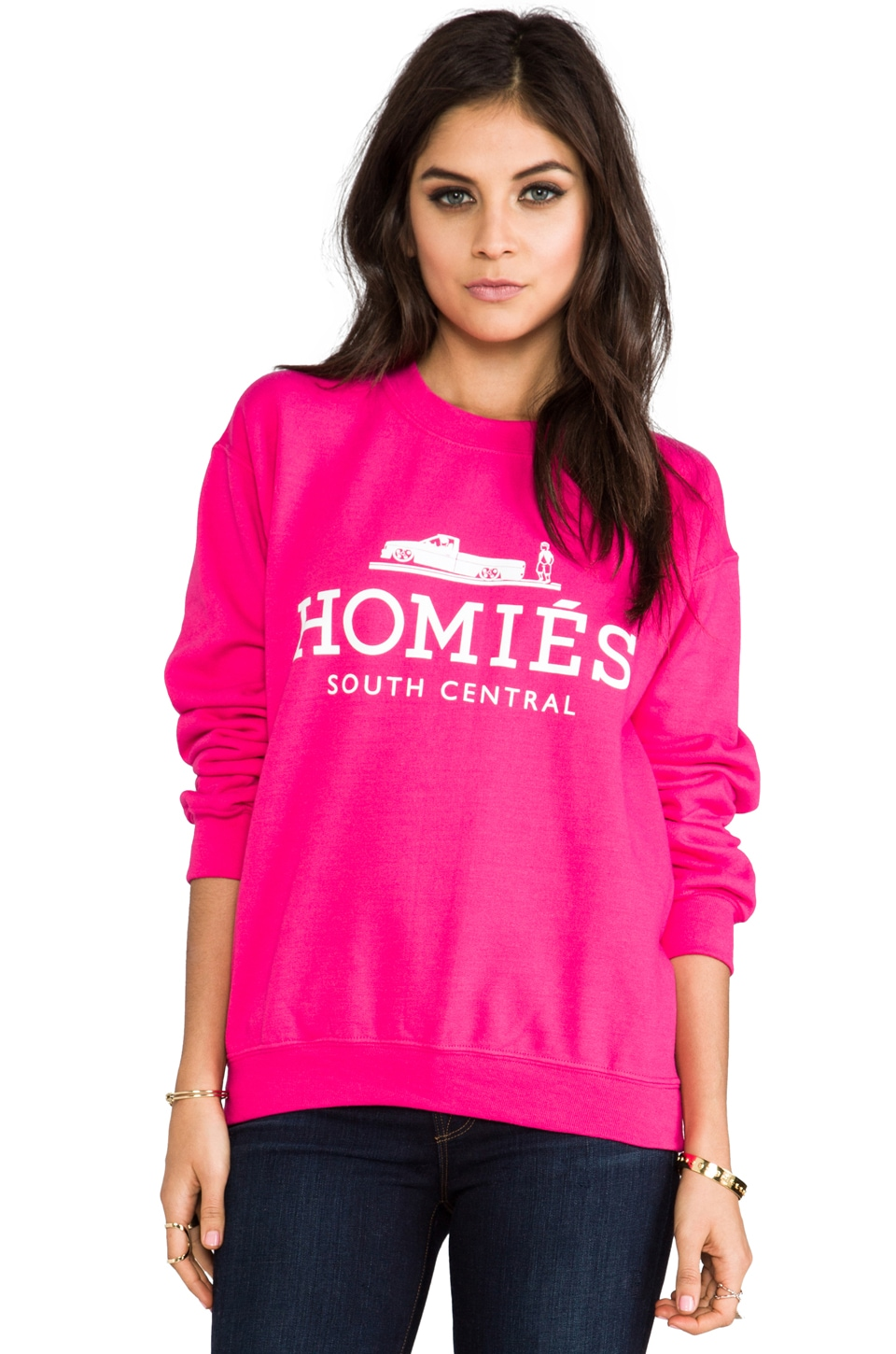 Brian Lichtenberg Homies Sweatshirt in Hot Pink/White