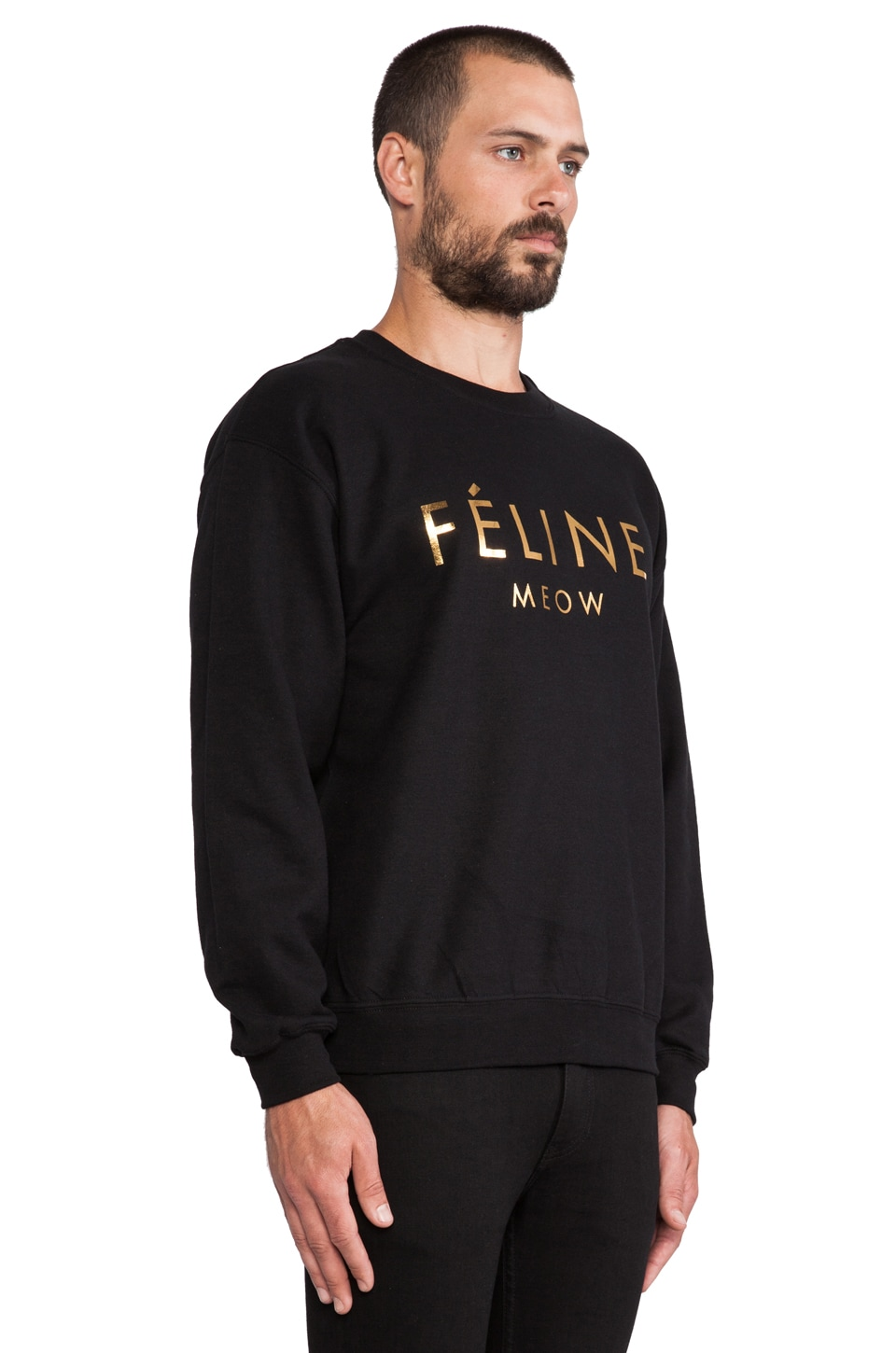 Brian Lichtenberg Feline Sweatshirt in Black/Gold