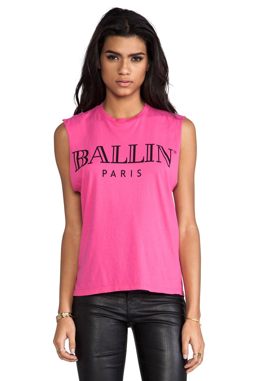 Brian Lichtenberg Ballin Muscle Tee in Hot Pink/Black