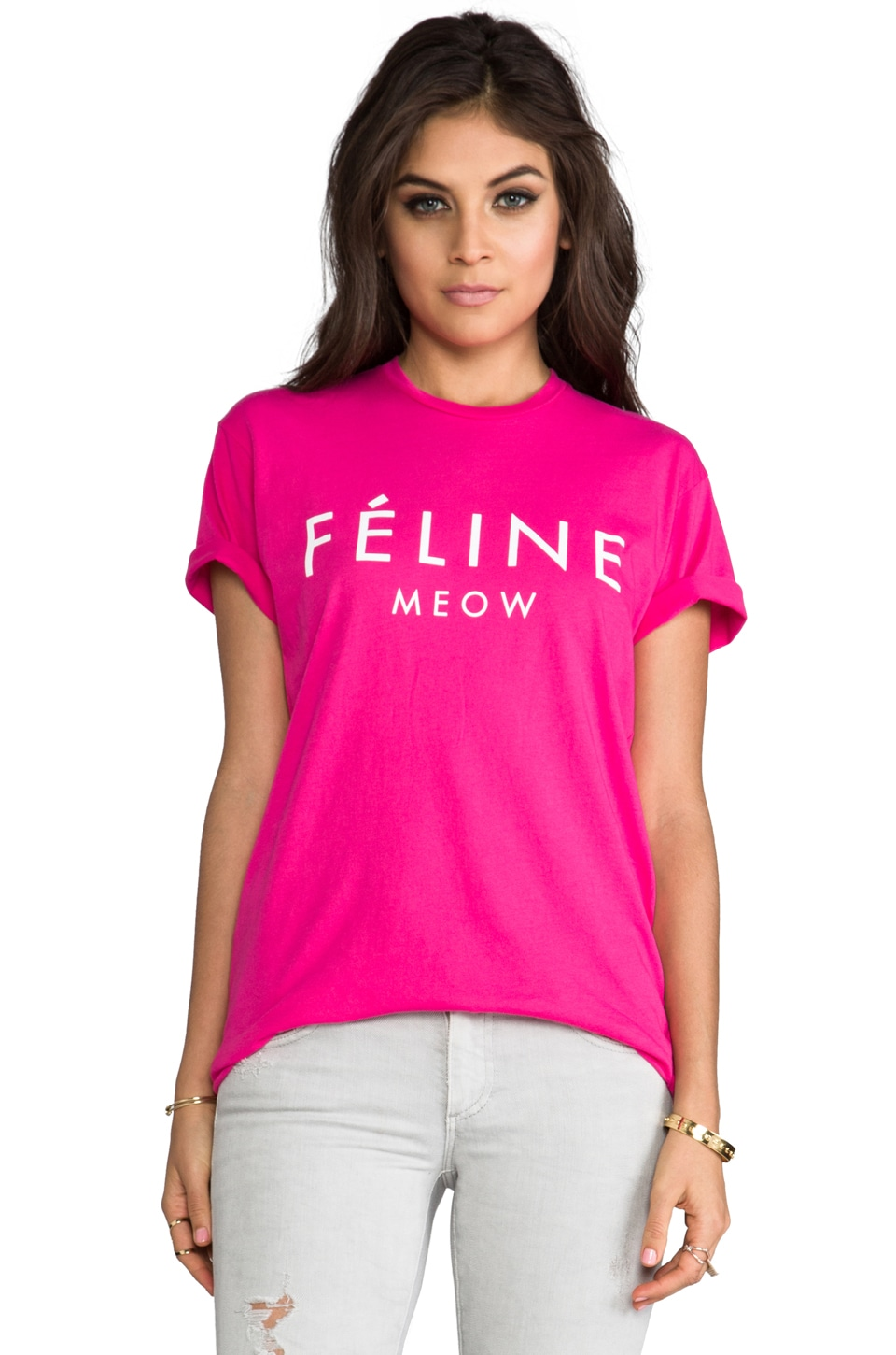 Brian Lichtenberg Feline Tee in Hot Pink/White