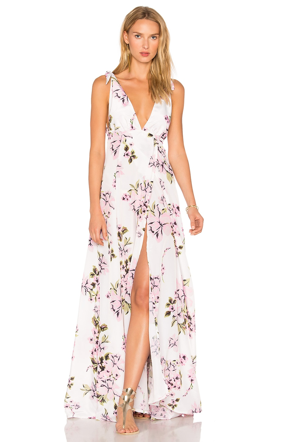 BEACH RIOT Deep V Floral Gown in Pink Flower