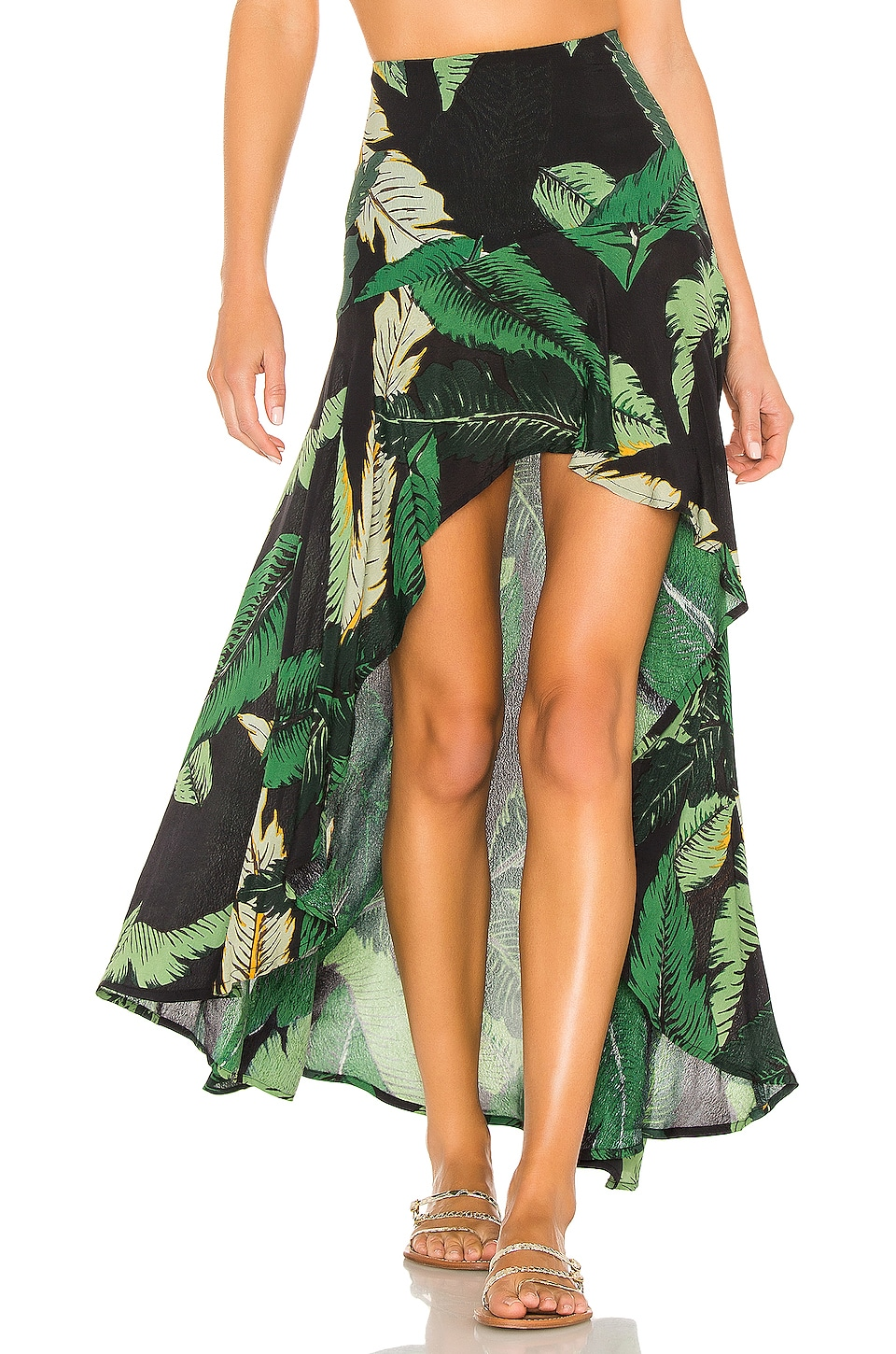 BEACH RIOT Rachel Skirt in Black Palm
