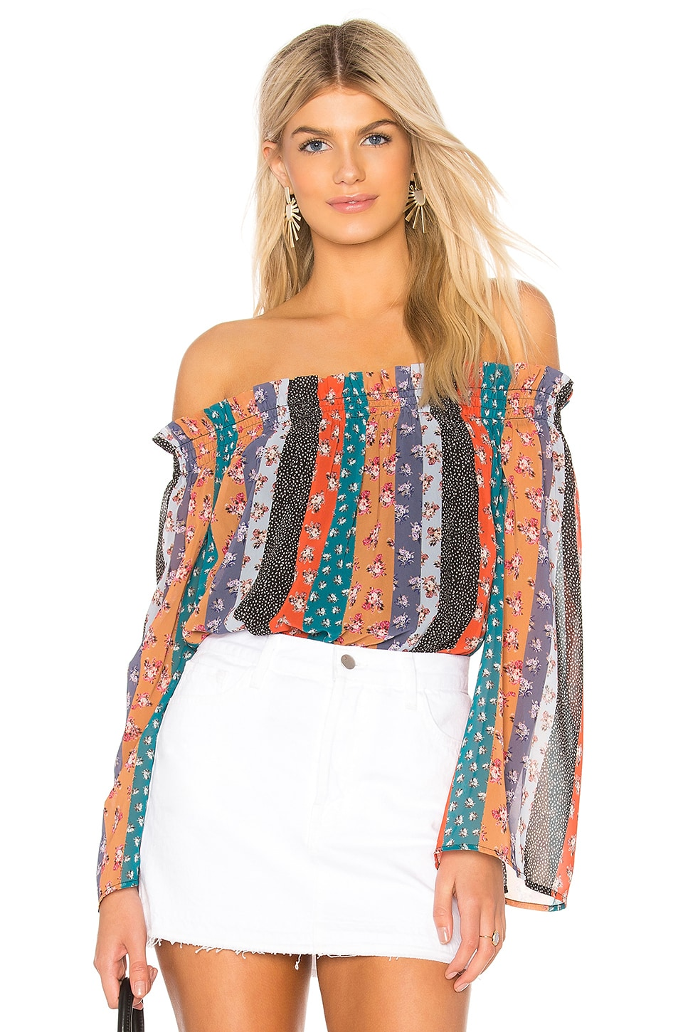 BEACH RIOT Rose Top en Multi Stripe