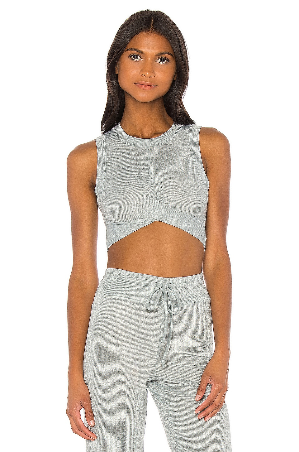 BEACH RIOT Riot Crop Top in Silver