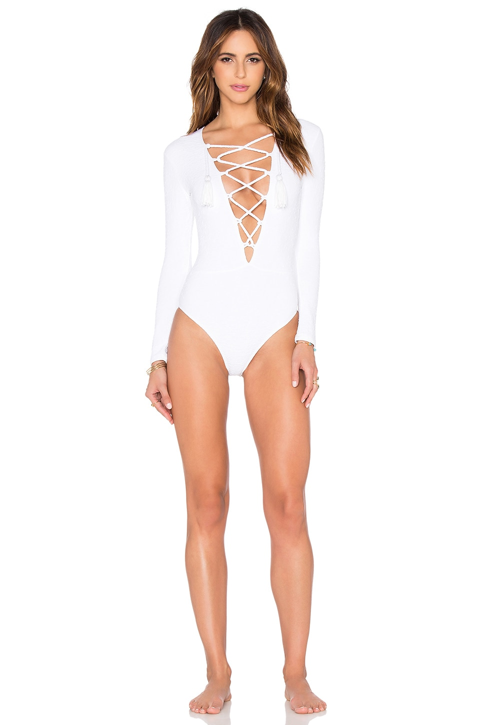 BEACH RIOT x Stone Cold Fox The Poppy One Piece in White Texture
