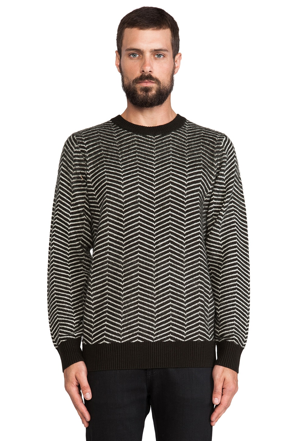 Brixton Gully Sweater in Black/ White