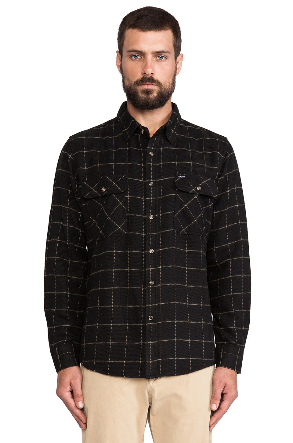 Brixton Bowery Flannel in Black