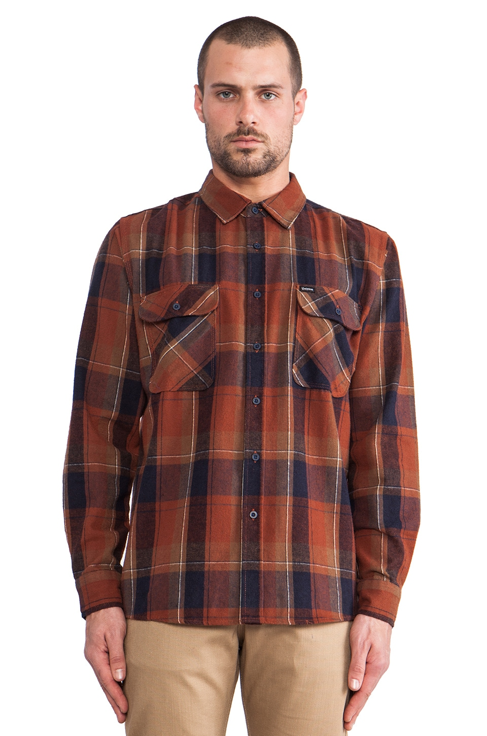 Brixton Bowery Flannel in Rust & Navy