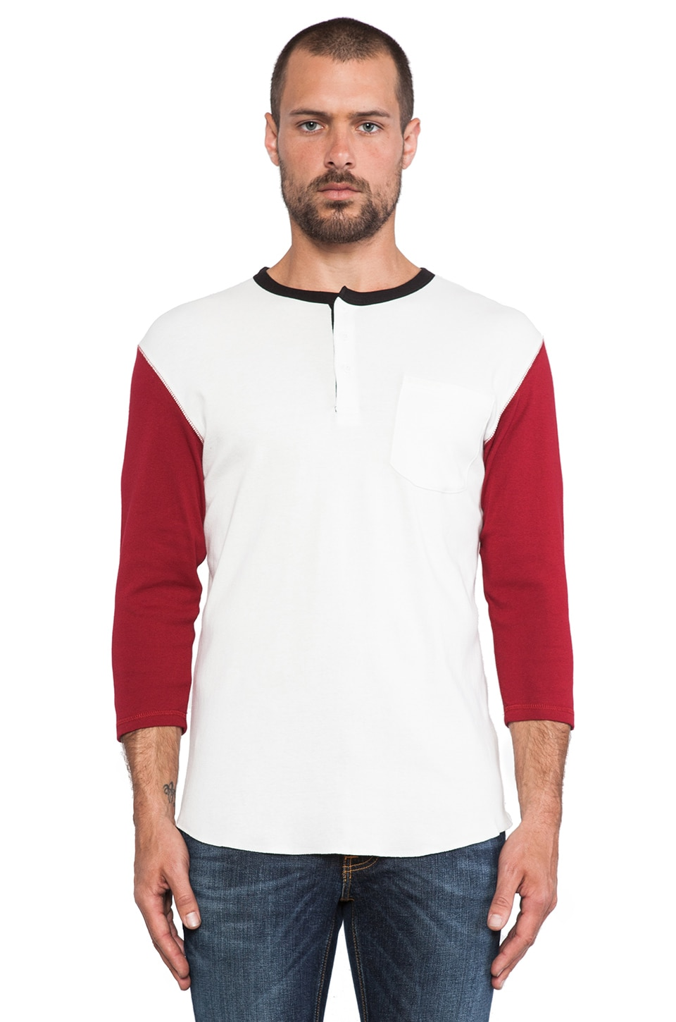 Brixton Detroit Henley in White &  Red
