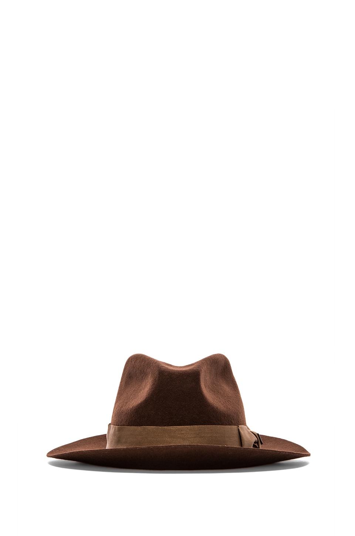 Brixton Ranch Fedora in Brown &  Dark Cream