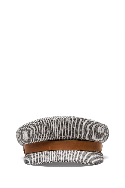 Brixton Fiddler Cap in Navy & White
