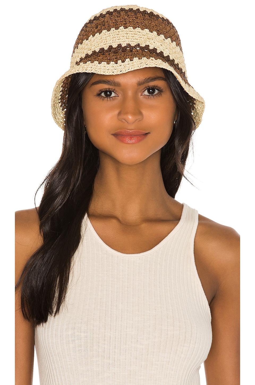 Brixton Essex Raffia Bucket Hat in Tan & Brown