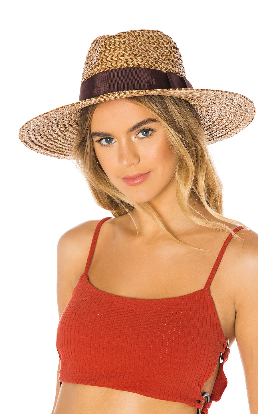 Brixton Joanna Hat in Brown & Cream