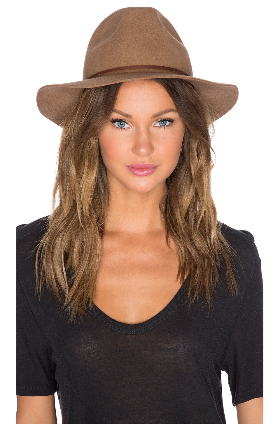 Brixton Wesley Fedora in Dark Tan