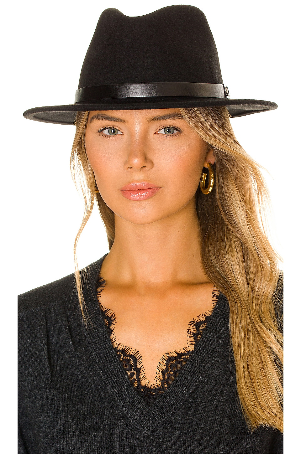 Brixton Messer Fedora in Black & Black