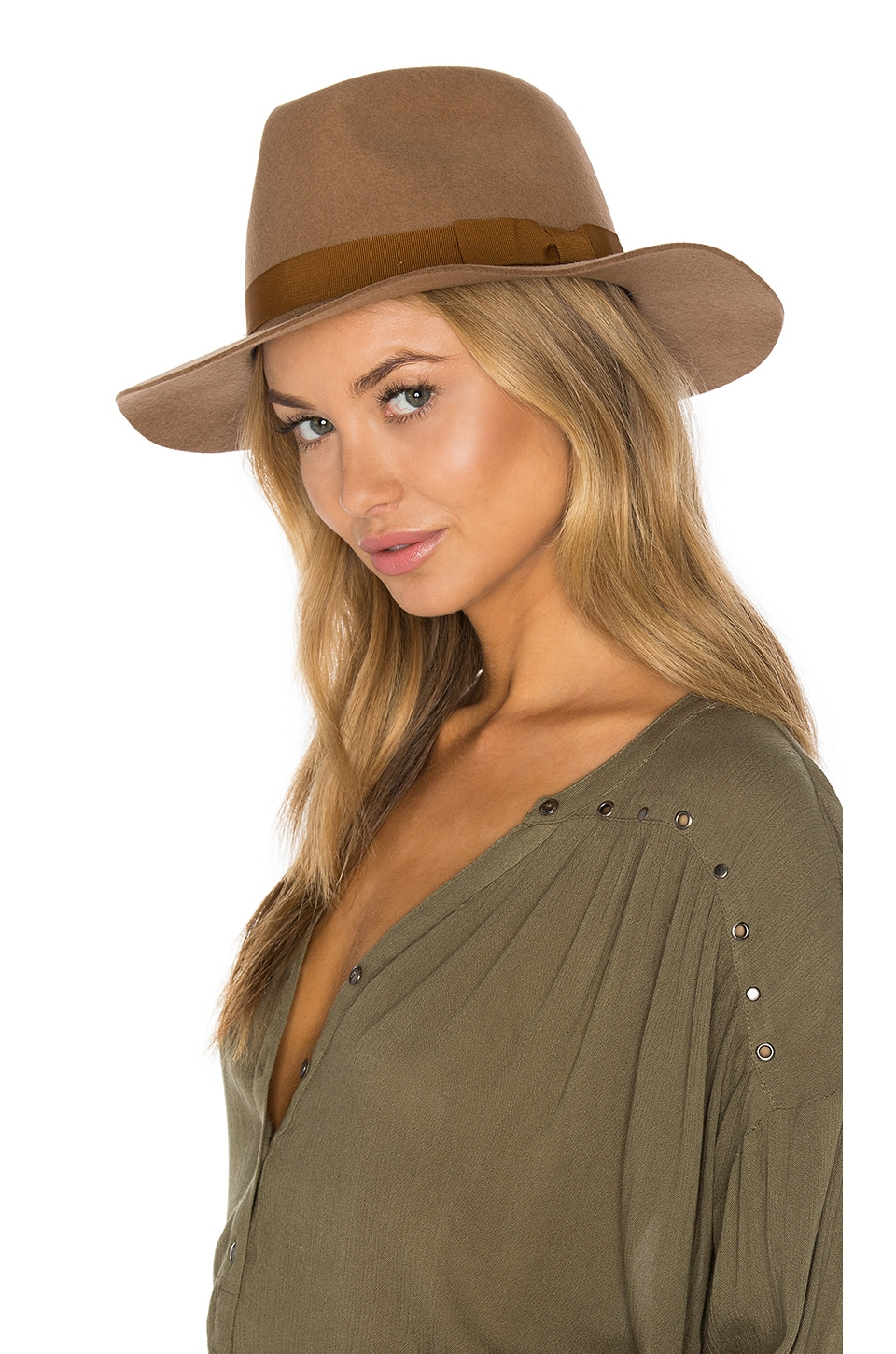 Brixton Indiana Fedora in Tan & Bronze