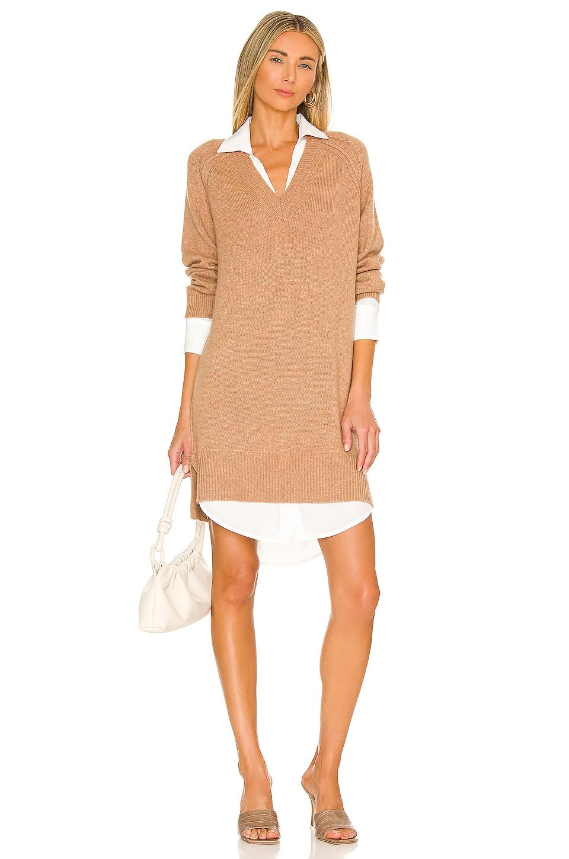 Brochu Walker Looker Vee Dress in Camel Melange & White Brown