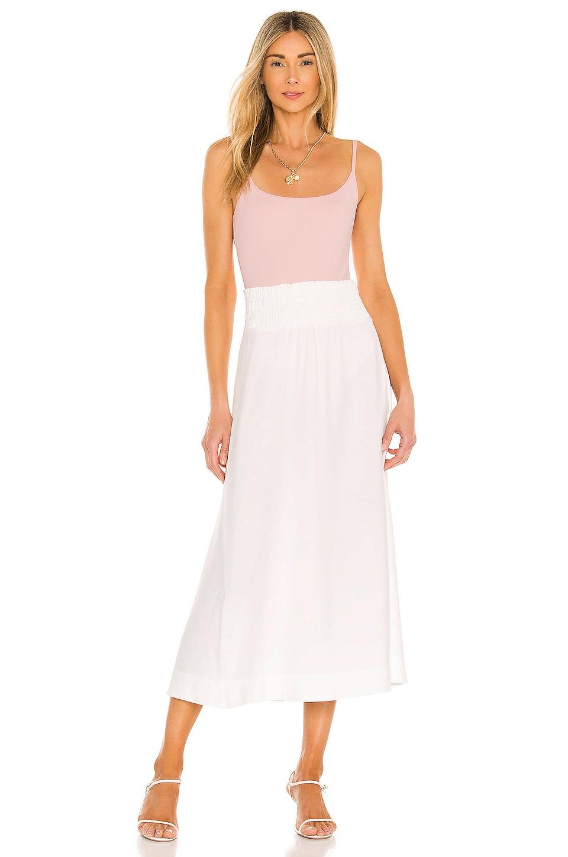 Brochu Walker Leda Smocked Skirt in Salt White