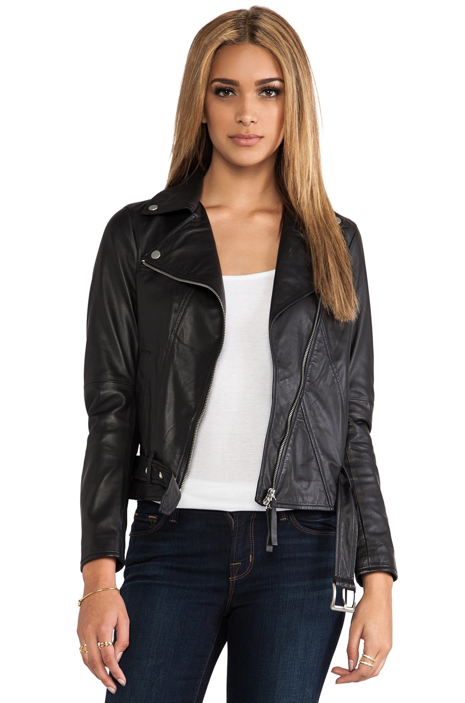 BROGDEN Leather Moto Jacket in Black