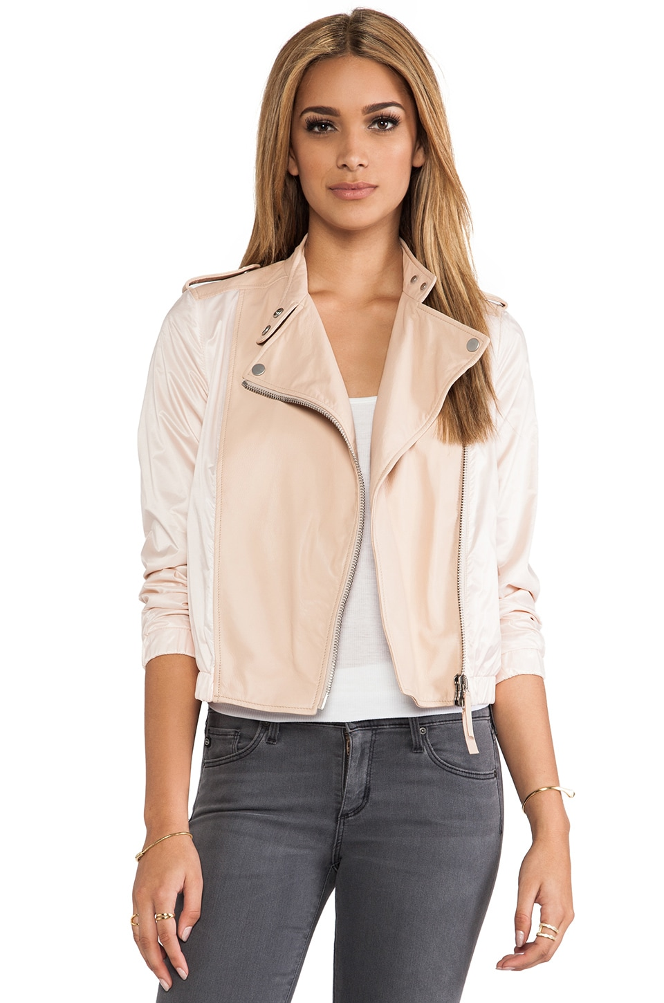 BROGDEN Leather Moto Jacket in Powder