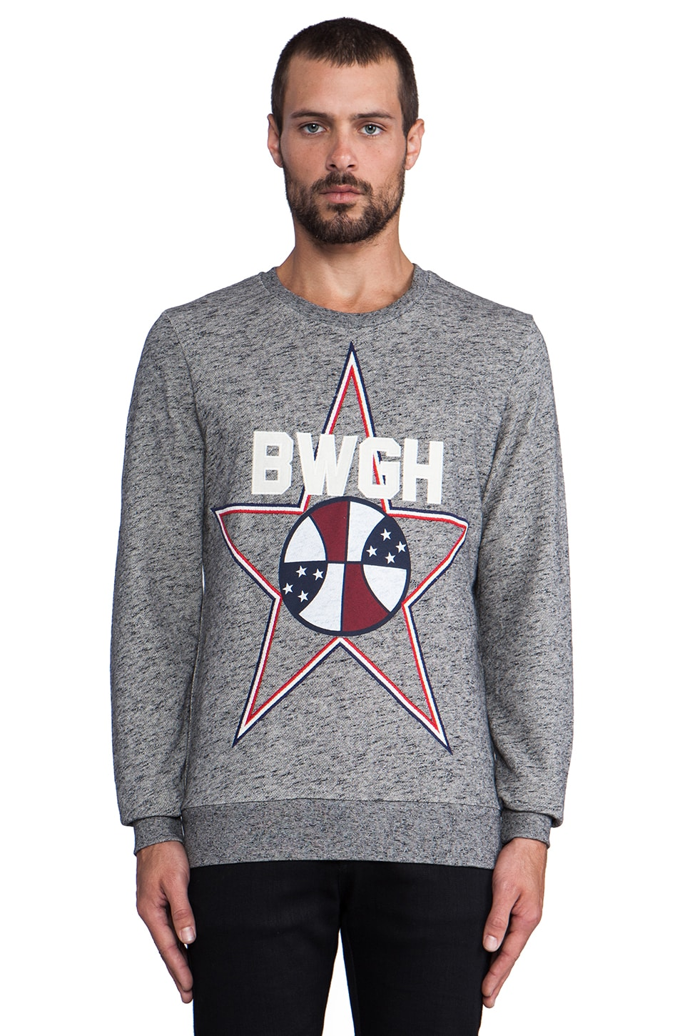 Brooklyn We Go Hard Ballon Star Sweatshirt in Grey Melange