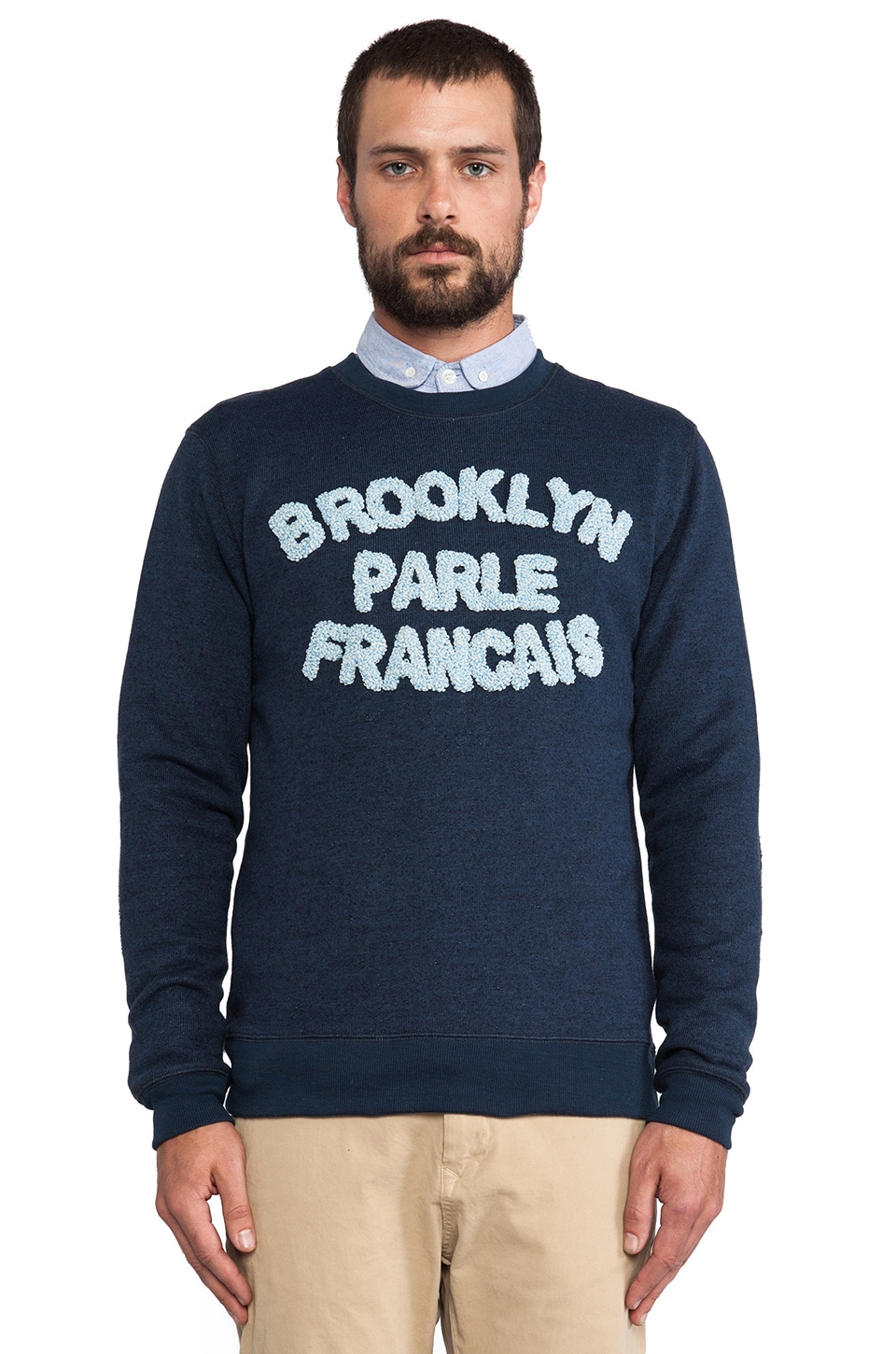 Brooklyn We Go Hard Brooklyn Parle Francais Sweatshirt in Navy & Blue