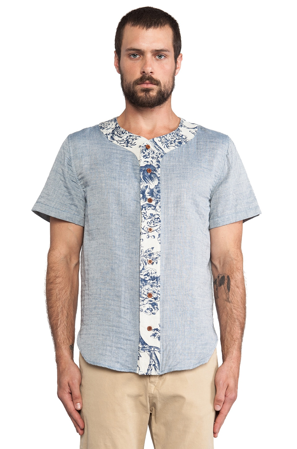 Brooklyn We Go Hard Base Button Down in Blue