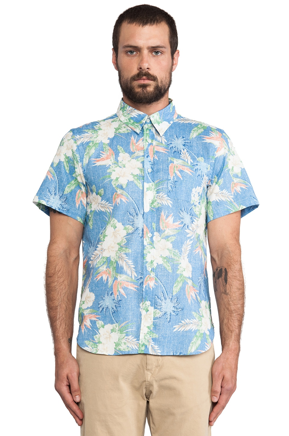 Brooklyn We Go Hard Hawaii Button Down in Blue