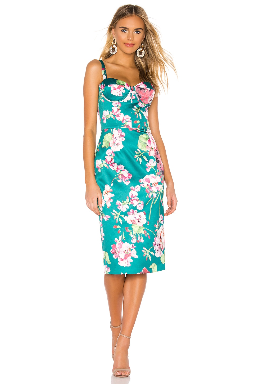 Bronx and Banco Sofia Midi Dress in Green & Fuchsia
