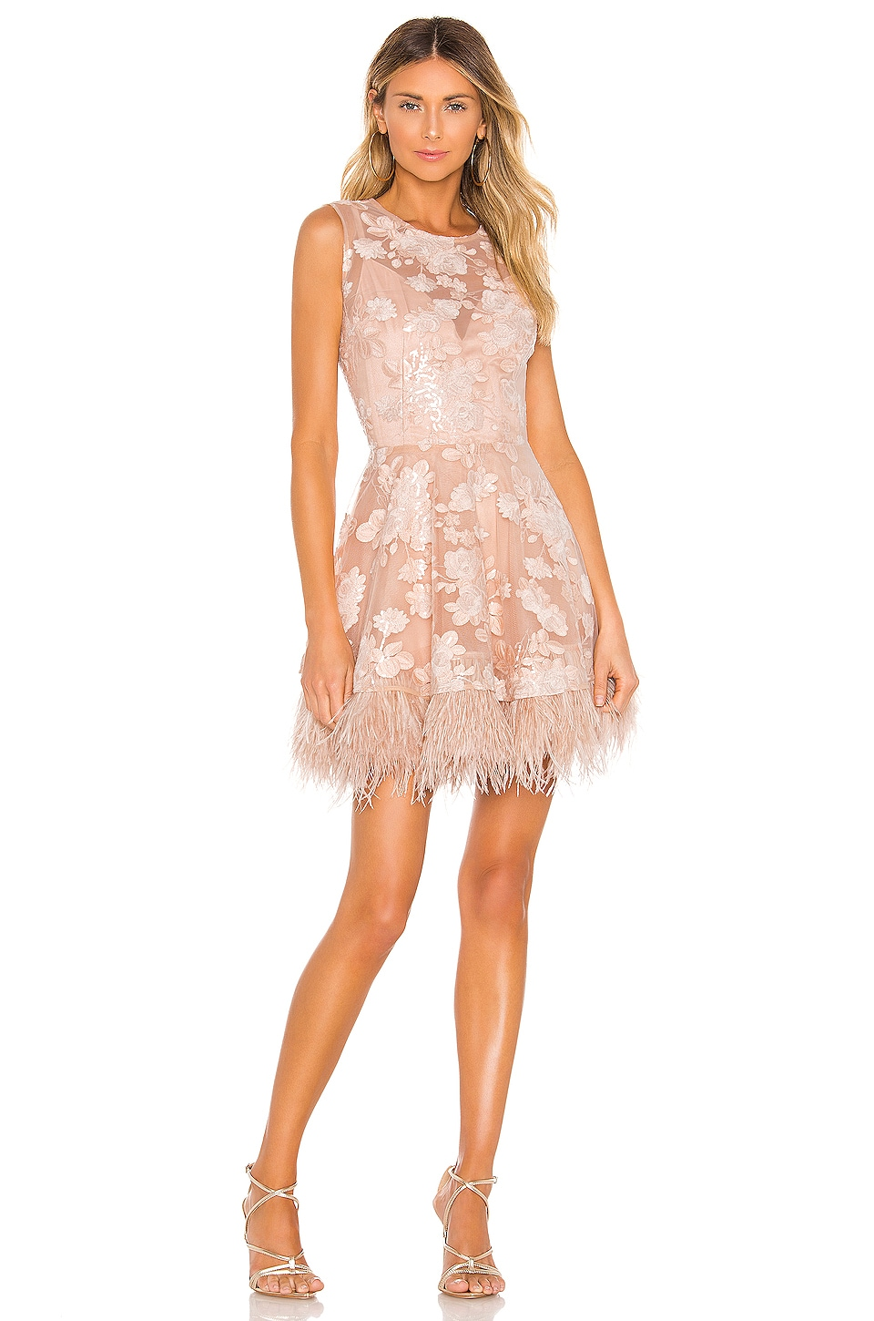 Bronx and Banco Viola Feather Dress in Nude